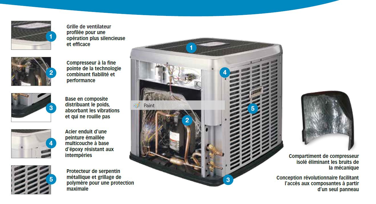 composante thermopompe centrale luxaire acclimate