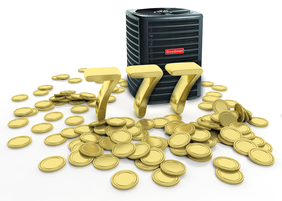 Pile of golden coins and 777 number, isolated on white background.
